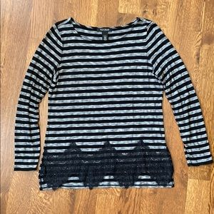 White House Black Market striped & lace top